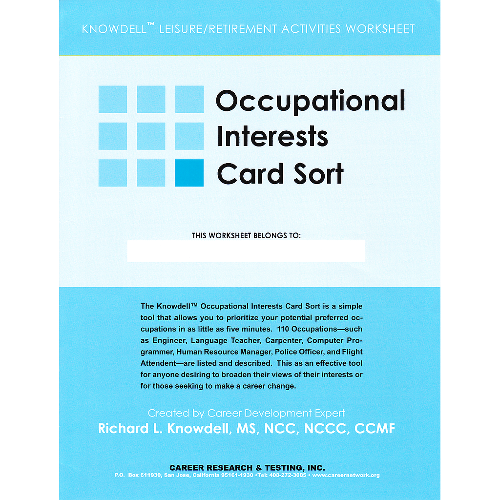 Knowdell Occupational Interests Worksheet (pack of 10)